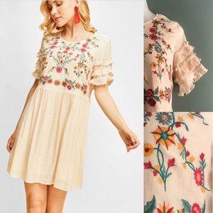 Entro embroidered ruffle sleeve dress/tunic